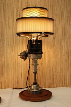 Distributor lamp with air filter shade. Man Cave!