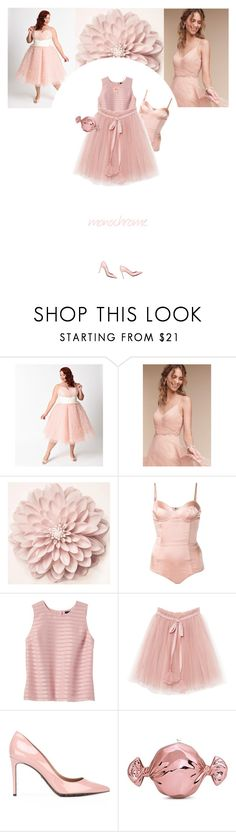 """""""Untitled #232"""" by soledestate ❤ liked on Polyvore featuring Anthropologie, Fleur du Mal, Banana Republic, Dolce&Gabbana, Judith Leiber, Stephen Webster, monochrome, Pink, headtotoepink and plus size dresses"""