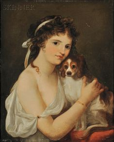 Anglo/American School, 19th Century Portrait of a Woman with Cavalier King Charles Spaniel | Sale Number 2615B, Lot Number 618A | Skinner Auctioneers