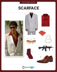 Suit up as one of the most notorious film characters, Tony Montana, who rises to be the biggest drug lord in Scarface. Best Female Halloween Costumes, Halloween Dress Up Ideas, Halloween Inspo, Halloween Outfits, Halloween Couples, Scarface Costume, Havana Nights Party Theme, Homemade Costumes, Cosplay Costumes