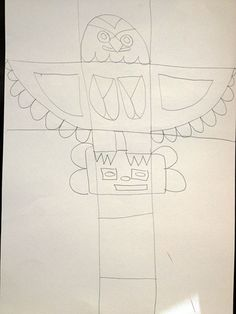 How to draw totem poles and cut outs Totem Pole Drawing, Totem Pole Art, Native American Projects, Native American Art, Totem Poles For Kids, 3rd Grade Art Lesson, Lindsay Price, Spirit Animal Totem, Haida Gwaii