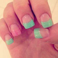 Green. Pink. Acrylic. Fake nails. Short