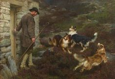 Exceptional art prints of To the Hills by Briton Riviere. Fantasy Paintings, Dog Paintings, Original Paintings, English Shepherd, Shepherd Dogs, Scotch Collie, Colley, Rough Collie, Horses And Dogs