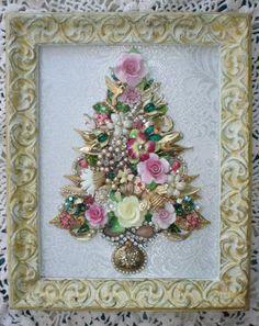 Vintage Jewelry Art Framed Floral Christmas Tree Birds Bee Ladybug Butterfly | eBay
