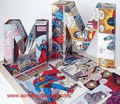 Letras forradas com Comics :) Fantásticas! Encontre as letras de cartão na { DO ART } e crie projetos únicos!