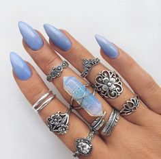 Image uploaded by MK Rodriguez. Find images and videos about blue, nails and rings on We Heart It - the app to get lost in what you love. Cute Nails, Pretty Nails, Hair And Nails, My Nails, Nail Art Designs, Nail Jewelry, Jewellery, Boho Jewelry, Jewelry Accessories