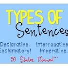 Included are posters representing the four types of sentences. Declarative, Exclamatory, Interrogative and Imperative. The theme is the 50 States. Grammar Sentences, Types Of Sentences, 50 States, Graphic Organizers, Teacher Pay Teachers, Teaching, Education, Posters, Sentence Types