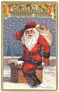 Wonderful 1908 SANTA Down The Chimney Embossed 'Christmas Greetings' Postcard