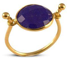 Δαχτυλίδι από επιχρυσωμένο ασήμι με ορυκτό μπλέ ζαφείρι Gemstone Rings, Gemstones, Jewelry, Jewlery, Bijoux, Schmuck, Jewerly, Gems, Jewels