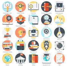 Education theme icon set by howcolour on Creative Market