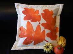 Oak leaf autumn 20 pillow painted indoor outdoor by crabbychris, $38.00