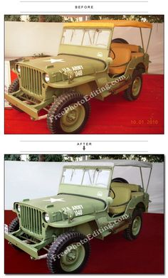 Photo colour correction done on vintage Jeep photo at auto show in India