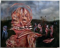 """Zero Cents The Blame Game oil on canvas, 25"""" x 31.5"""""""