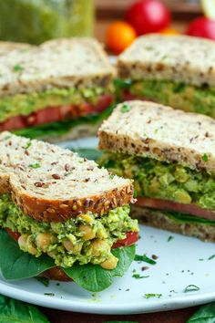 Pesto Smashed Chickpea and Avocado Sandwich Recipe : Smashed chickpea and avocado sandwiches with the fresh, bright and summer-y hit of fresh basil pesto! Avocado Sandwich Recipes, Pesto Sandwich, Veggie Recipes, Lunch Recipes, Whole Food Recipes, Vegetarian Recipes, Cooking Recipes, Healthy Recipes, Chickpea Sandwich