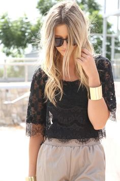 lace top high waisted shorts
