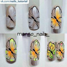 Butterfly nail design Butterfly Nail Designs, Butterfly Nail Art, Red Nail Designs, Crazy Nail Art, Cool Nail Art, Nails Only, Love Nails, Nail Atelier, Animal Nail Art