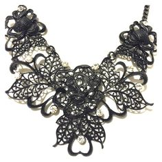 "Bold Black & Crystal Filigree Necklace Set  1/30 Total Trendsetter HP @mimismenagerie This open scroll work necklace set is accented with crystals. 17"" with 4"" extender, earring 1 1/2"". Fashion jewelry Boutique Jewelry Necklaces"