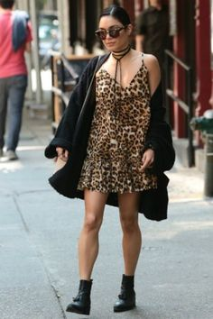 Vanessa Hudgens wearing AllSaints Pierced Boots, Komono Dreyfuss Sunglasses in Tortoise, Orka Mesica Leslie Bag and One X Oneteaspoon Ford Society Leopard Print Dress