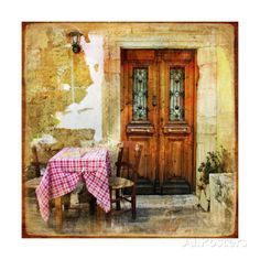 Pictorial Old Greek Streets With Tavernas - Retro Styled Picture Posters by Maugli-l - at AllPosters.com.au