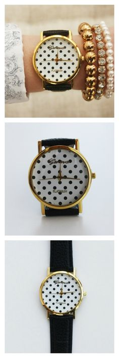 Black Dots Case Fashion Wristwatch Teen Gift Woman Girl Black Band Watch  Listed for charity