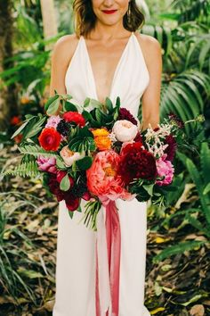 and Colorful California Wedding at the San Diego Botanic Gardens Stylish contemporary bridal style and lush blooms Garden Wedding Dresses, Spring Wedding Flowers, Flower Bouquet Wedding, Red Wedding, Flower Bouquets, Bridal Bouquets, Wedding Ideas, Summer Wedding, Purple Bouquets