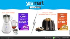 Which one you like '‪#‎Glen‬ Mixer Grinder' or '‪#‎Hamilton‬ Toaster'!! Thought you will steal both! Exclusive!!! 20% offers on these ‪#‎HomeAppliances‬ @Yesmart. So what are waiting for? Let's rush to your nearest YesMart Store today! Visit – www.yesmart.in