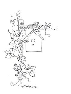 a border bird house, roses on post