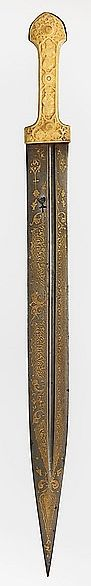 Circassian qama / kindjal, 18th to 19th century, steel, brass, ivory, L. 23 3/4 in. (60.3 cm); W. 1 15/16 in. (4.9 cm); Wt. 1 lb. 3.9 oz. (564.2 g), Met Museum, Bequest of George C. Stone, 1935.