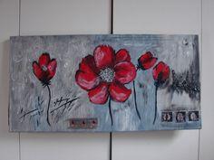 cadre décoratif coquelicots sur fond gris : Décorations murales par tallie-decoration Cheesecakes, Painting, Etsy, Flowers, Gray, Wall Decorations, Red Flowers, Painting Classes, Poppies