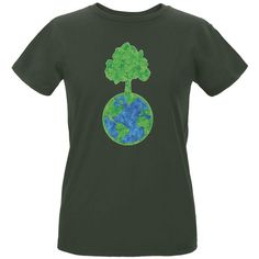 Earth Day - World Tree Women's Organic City Green T-Shirt
