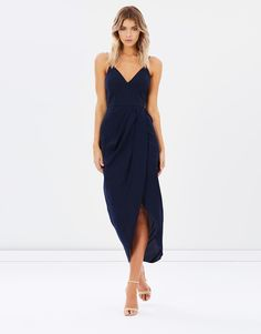 Cocktail Draped Dress $280.00 The beauty of the Cocktail Draped Dress from Shona Joy lies in its simplicity. The pared-back silhouette is cut to perfection and complements the chic navy hue. Change your accessories to update the look with every wear.