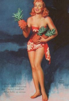 There's a lady who knows how to show off her pineapples.