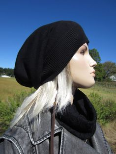 465446a15cb Womens Black Tams Hats Big Head Slouchy Beanies A1385