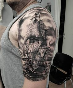cool 85 Striking Pirate Ship Tattoo Designs - Bonding with Masters of the Seas Check more at http://stylemann.com/best-pirate-ship-tattoo-designs/