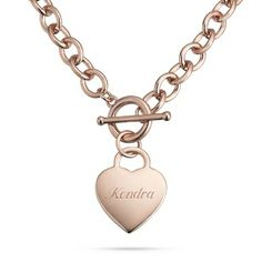 Touch her heart with this necklace personalized with a special message from you. A classic open-link toggle necklace, this standout piece will be the crowning feature of every outfit.