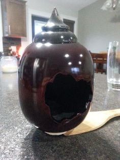 Maple hollowform with a birch lid