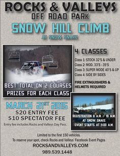 Don't miss the Snow Hill Climb at Snow Snake on Saturday, March 21! $20 entry fee, $10 spectator fee. 11AM start.
