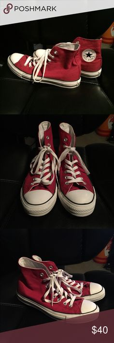 Red Converse All Star High Tops Red Converse All Star High Tops in women's size 9. Shoes have rarely been worn and remain in very good condition. Converse Shoes Sneakers
