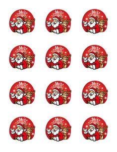 Red Santa & Rudolph Christmas Edible Cupcake Toppers | My Party Helpers | http://mypartyhelpers.com/products/santa-rudolph-christmas-edible-cupcake-cookie-toppers
