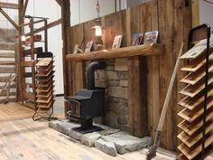 wood stove mantel images | ... hearth, flooring displays / Antique wood burning stove, lantern lights