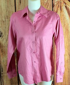 Talbots Pink Long Sleeve Button Down Shirt Womens Petite Size 4 Tops