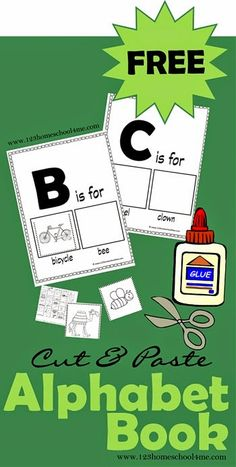 FREE Alphabet Book - Cut and Paste mini book for Preschool and Kindergarten kids to make! Great for learning about the alphabet and new vocabulary.