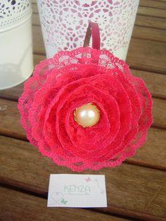 Diadema encaje rosa fucsia ref: 34