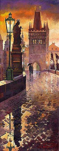 """""""Prague Charles Bridge  001"""" ~ Yuriy Shevchuk, Oil"""