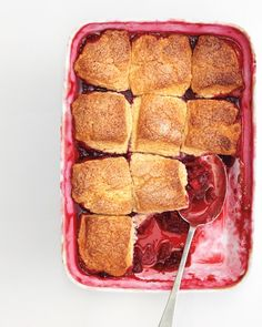 Raspberry Cobbler - Martha Stewart Recipes. The perfect way to use up the last of the season's fruity gifts.