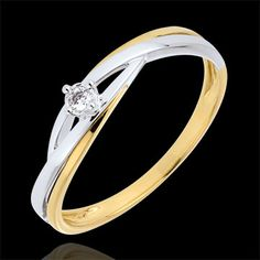 joaillerie Solitaire Nid Précieux - Dova - or rose et or blanc - 9 carats Beautiful Wedding Rings, White Gold Wedding Rings, Ring Verlobung, Solitaire Ring, Engagement Ring Styles, Diamond Engagement Rings, Gold Diamond Rings, Gold Rings, Rosa Ring