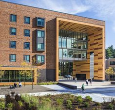 Image 1 of 11 from gallery of Westfield State New University Hall / ADD Inc. Photograph by Robert Benson Photography University Architecture, Architecture Student, Facade Architecture, Westfield State, School Building Design, University Hall, Magazin Design, Student House, Brick Facade