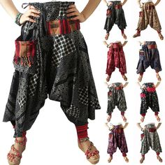 Harem Drop Crotch Patterned Trousers/Pants Gypsy Hippie Aladdin Hmong Men Women  #Handmade #CasualPants