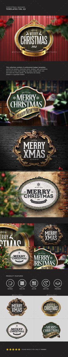 Christmas Badges Template #design Download: http://graphicriver.net/item/christmas-badges-vol02/9476076?ref=ksioks
