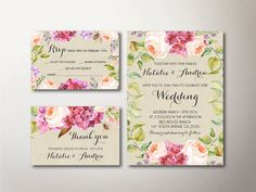 Printable Rustic Floral Wedding Invitation Set ( Spring / Summer Wedding Invite) which includes:  • wedding invitation (5x7, fits inside A7 envelope) •